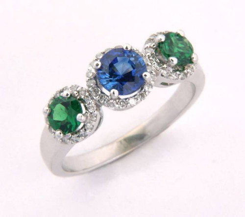 Sapphire & Emerald Three Stone Ring - CDG0173