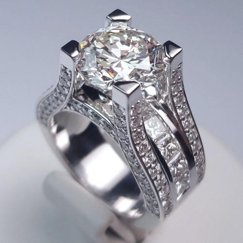 Floating Design Diamond Encrusted Signature Engagement Ring - CDG0174