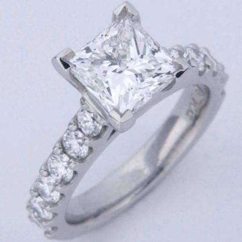 V-Prong Princess Cut Engagement Ring with Scalloped Shank - CDG0177