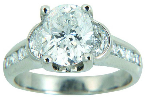 Floating Design Three Stone Engagement Ring with Half Moon Sides - CDG0181