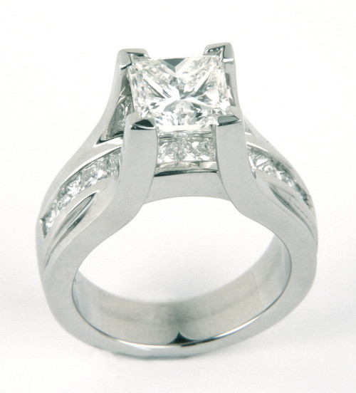Floating Princess Cut Modern Design Engagement Ring with Channel Set Shank - CDG0182
