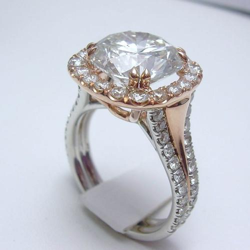 Two Tone Halo Designer Engagment Ring - CDG0184