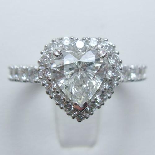 Prong Set Heart Shape Halo Engagement ring - CDG0185