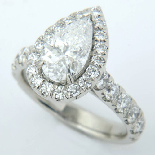 Pear Shape Diamond Halo Engagement Ring - CDG0186