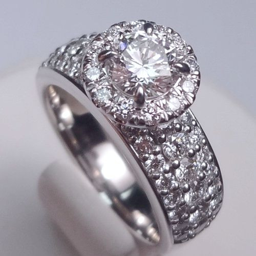 Round Halo Engagement Ring with Triple Row Prong Set Pave Shank - CDG0189