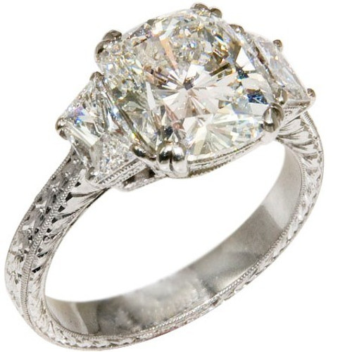 Antique Style Three Stone Engagement Ring - CDG0197