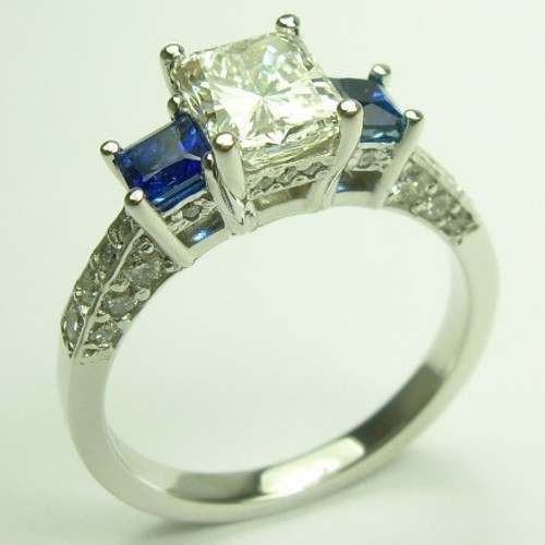 Diamond & Sapphire Three Stone Engagement Ring - CDG0199