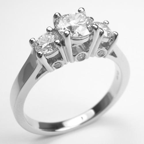 Three Stone Engagement Ring with Diamond Accents - CDG0201