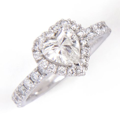 0.81ct Heart VS2 G Diamond Ring