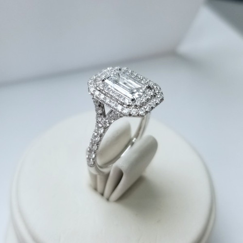 1.41ct Emerald Cut Double Halo Ring