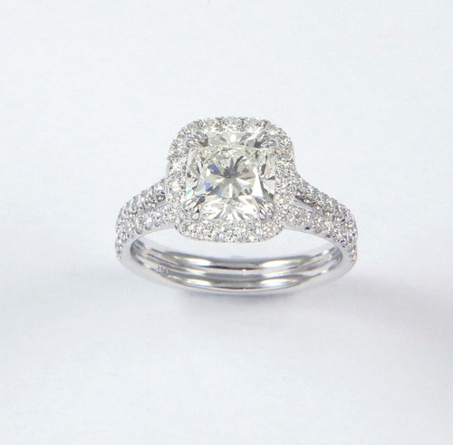 1.83ct Cushion Split-Shank Halo Ring