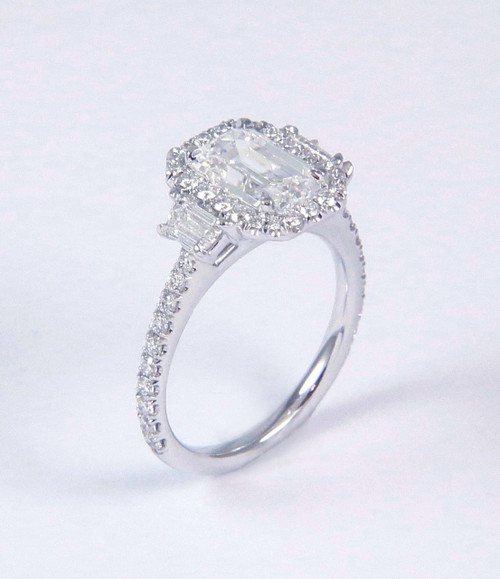 1.90ct Emerald Cut Three Stone Halo Ring