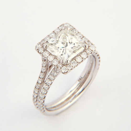 2.24ct Princess Cut Halo Diamond Ring