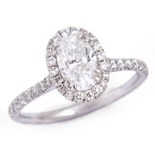 0.91ct Oval Halo Diamond Ring