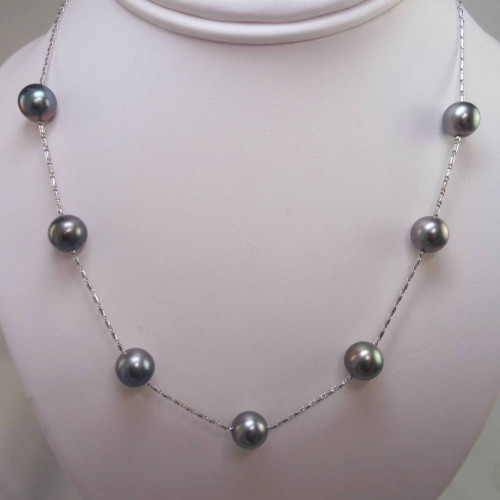 Black Pearls by the Yard Necklace