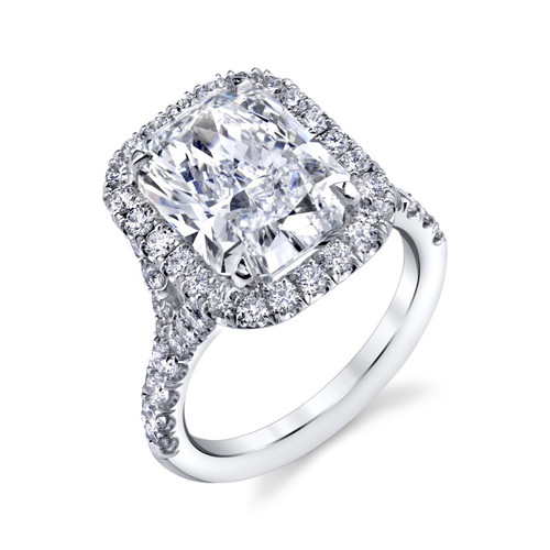 5.01ct Radiant Cut Halo Engagement Ring in 18kt White Gold