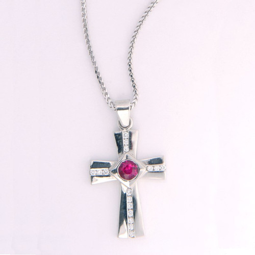 Cross Pendant in Platinum w/ 0.65ct Round Ruby & Diamonds