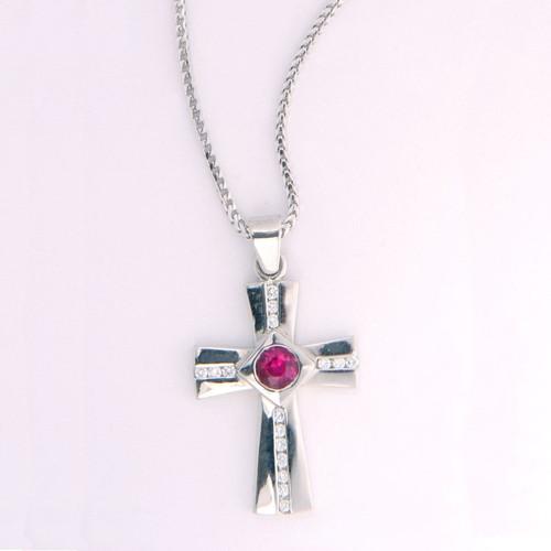 Cross Pendant in Platinum w/ 0.65ct Round Ruby & Diamonds