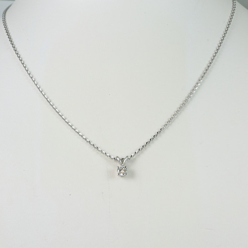 14kt White Gold Necklace with 0.25ct Bezel Set Round Diamond