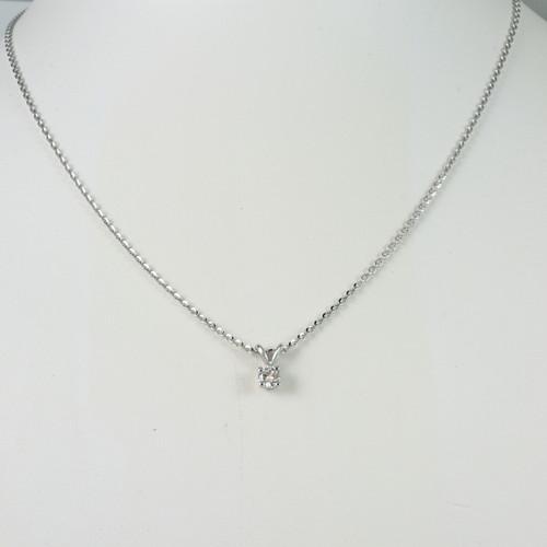 14kt White Gold Necklace with 0.25ct Bezel Set Round Diamond