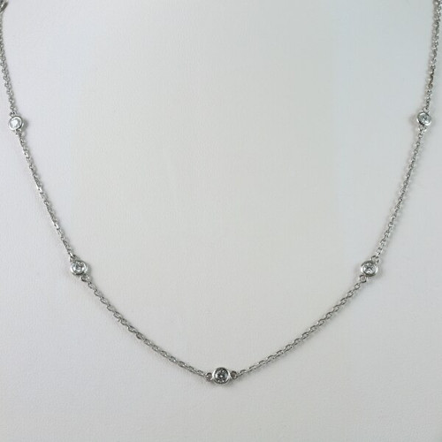 14kt White Gold 0.82ct tw Diamonds by the Yard Chain