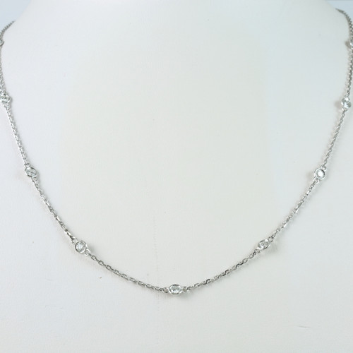 14kt White Gold 1.15ct tw Diamonds by the Yard Chain