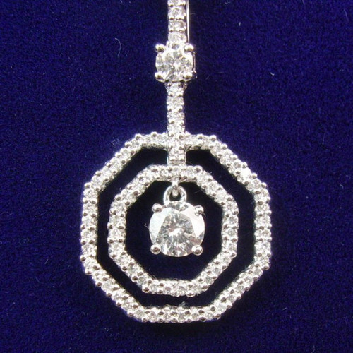 18kt White Gold Octagon Pendant with 0.51ct tw Round Diamonds
