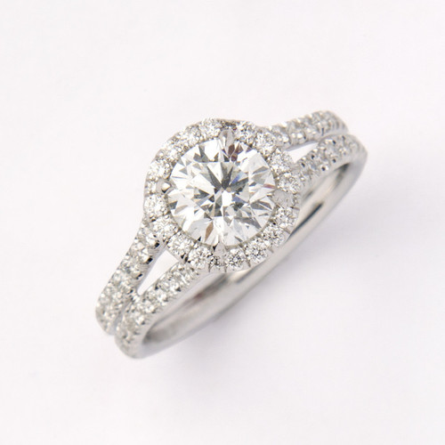 1.01ct Round Brilliant Diamond Halo Engagement Ring