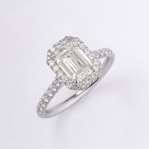 1.51ct Emerald Cut Diamond Halo Ring