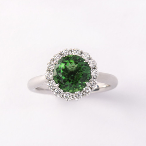 2.10ct Chrome Tourmaline set in a Diamond Halo