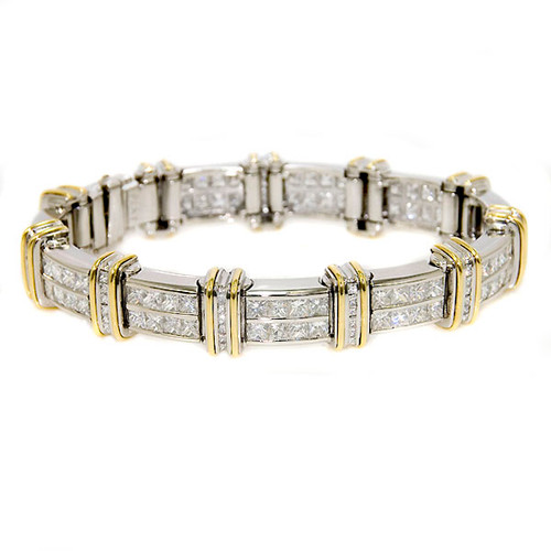 Unisex Two-Tone Diamond & Platinum Bracelet 18.93ct tw