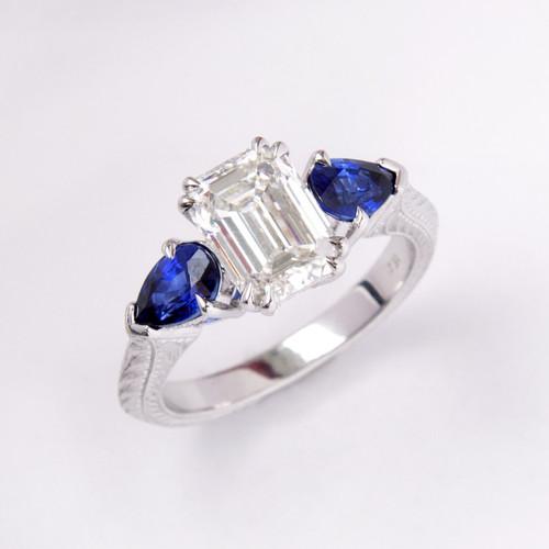 2.03ct Flawless Emerald Cut Diamond & Sapphire Three Stone Ring