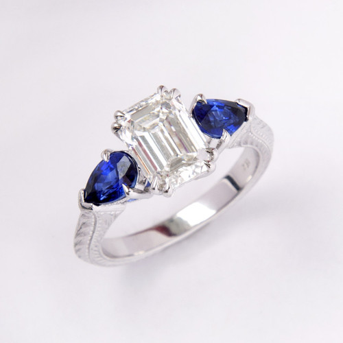 2.03ct Flawless Emerald Cut Diamond & Sapphire Three Stone Ring