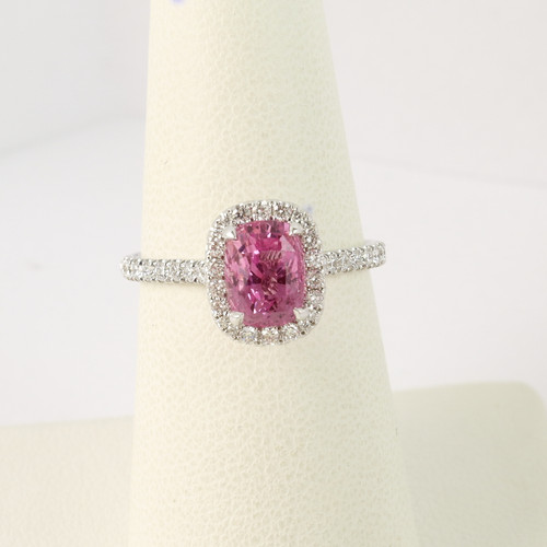 1.86ct Cushion Pink Sapphire Halo Ring