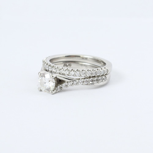 0.50ct Criss Cross Platinum Engagement Ring & Band