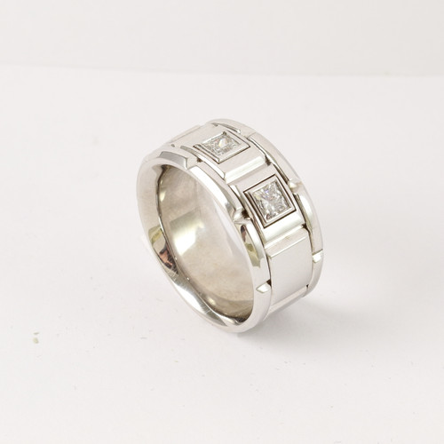 0.98ct tw Men's 14kt White Gold Wedding Band