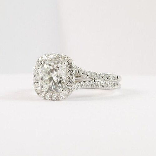 1.70ct Cushion Cut Halo Split Shank Ring