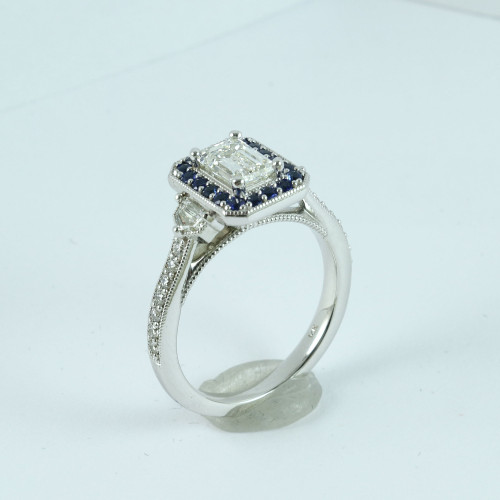 1.21ct Emerald Cut VS1-I Sapphire Halo Ring