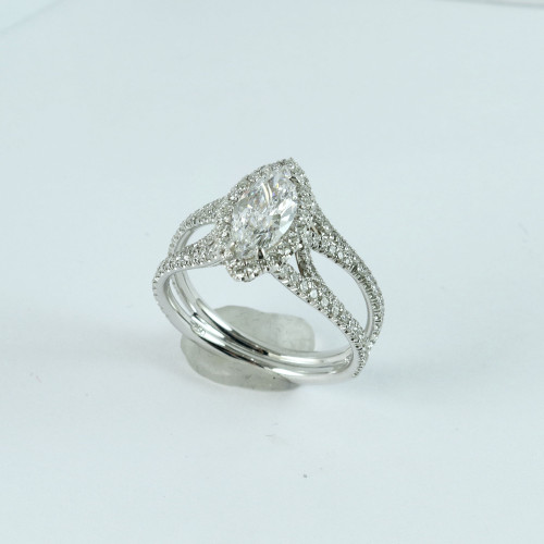 0.82ct Marquise Cut VVS2-D Split Shank Halo Ring