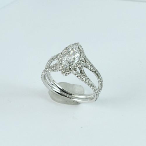 0.82ct Marquise Cut VVS2-D Split Shank Halo Ring