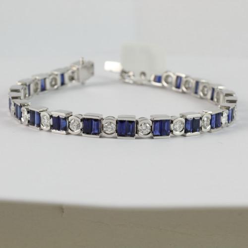 9.41ct tw Sapphire & Diamond Tennis Bracelet