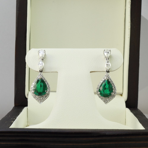 3.86ct tw Pear Shape Emerald & Diamond Drop Earrings