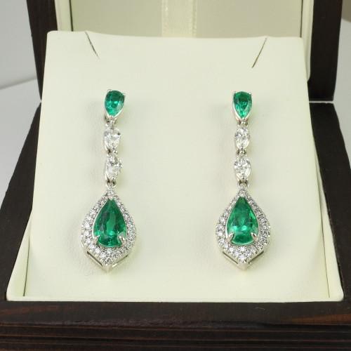 4.73ct tw Pear Shape Emerald & Marquise Diamond Drop Earrings