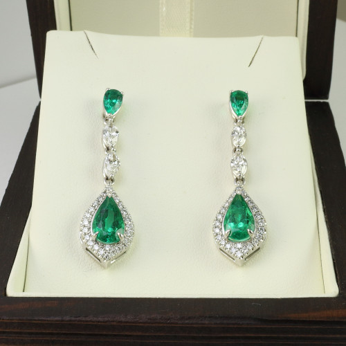 5.23ct tw Pear Shape Emerald & Marquise Diamond Drop Earrings