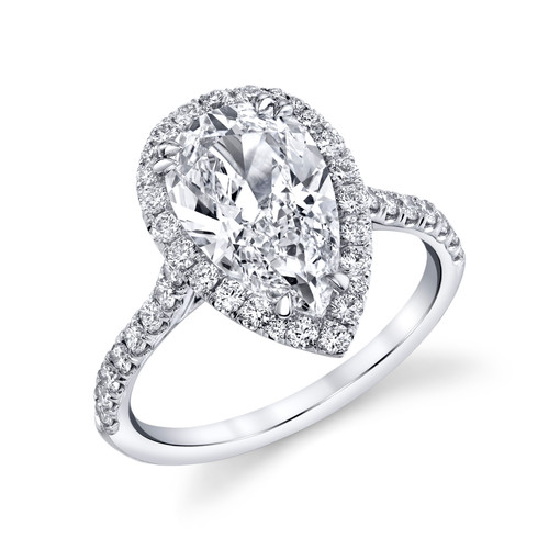 2.10ct Pear Shape VVS2-G Halo Pavé Ring