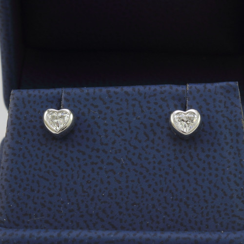 0.46ct Bezel Set Heart Shape Stud Earrings