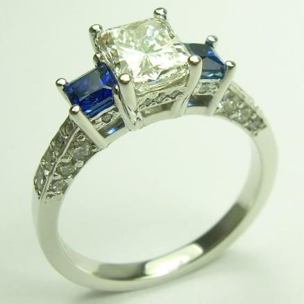 Diamond Amp Sapphire Three Stone Engagement Ring Cdg0199