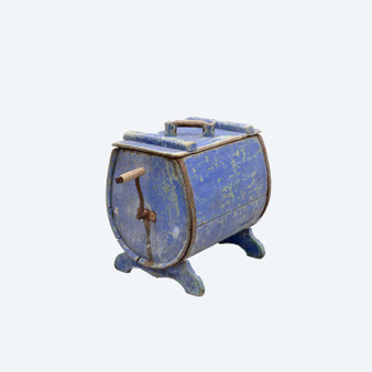 Antique Swedish 19th Century Pine Blue Painted Butter Churn