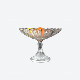 Antique Cut Glass Pedestal Footed Fruite Bowle Vase From Sweden