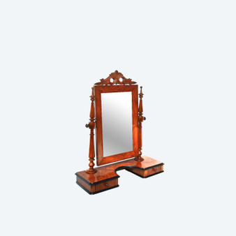 Victorian Dressing Table Swing Mirror Wood Vintage Antique Made In Sweden, 1800s